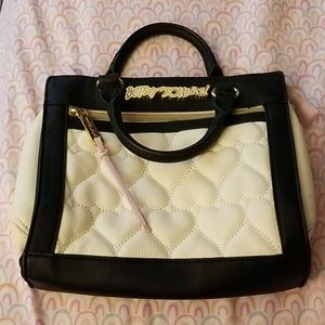Betsey Johnson Quilted Heart Satchel Black/Pink